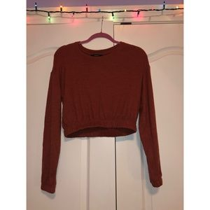 Forever 21 Rust Elastic Waist Cropped Sweater